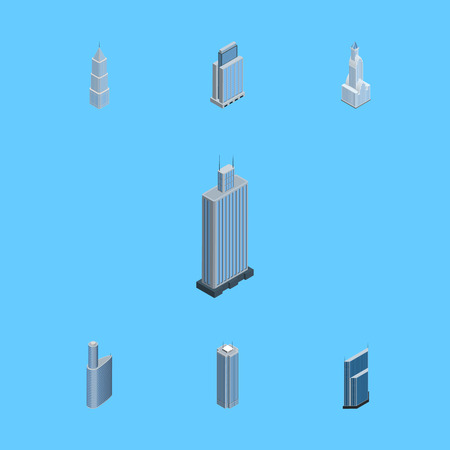 Isometric Construction Set Of Skyscraper, Business Center, Residential And Other Vector Objects. Also Includes Center, Building, Skyscraper Elements. Illustration