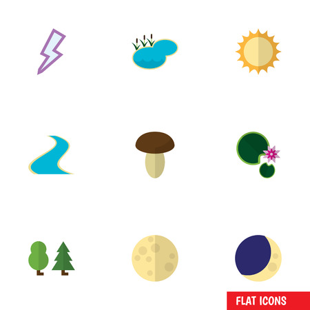 Flat Icon Natural Set Of Tributary, Pond, Lunar And Other Vector Objects. Also Includes Water, Wood, Solar Elements. Illustration