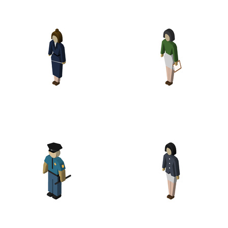 Isometric Person Set Of Pedagogue, Businesswoman, Officer And Other Vector Objects. Also Includes Worker, Educator, Teacher Elements. Illustration