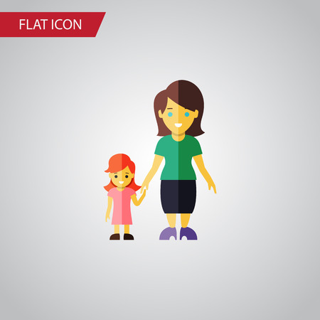 Isolated Gril Flat Icon. Mother Vector Element Can Be Used For Mother, Son, Family Design Concept. Ilustração