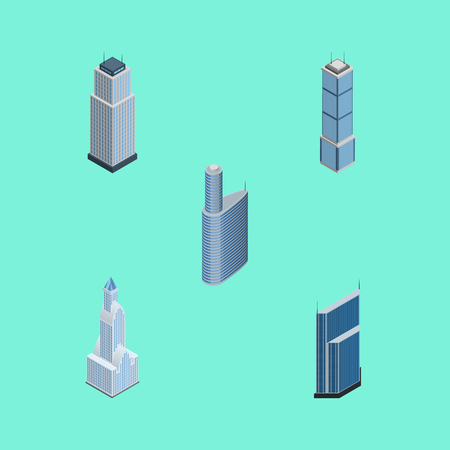 Isometric Building Set Of Cityscape, Building, Tower And Other Vector Objects. Also Includes Exterior, Cityscape, Urban Elements. Illustration