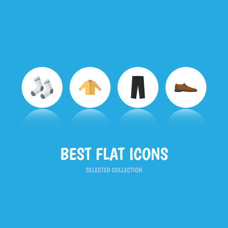 Flat Icon Clothes Set Of Pants, Banyan, Male Footware And Other Vector Objects. Also Includes Shirt, Socks, Banyan Elements.