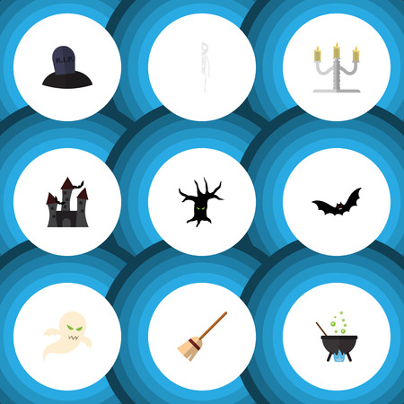 phantom: Flat Icon Celebrate Set Of Terrible Halloween, Magic, Superstition And Other Vector Objects. Also Includes Castle, Cranium, Witch Elements.
