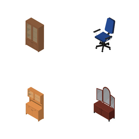 Isometric Design Set Of Cabinet, Office, Cupboard And Other Vector Objects. Also Includes Cupboard, Chair, Cabinet Elements.