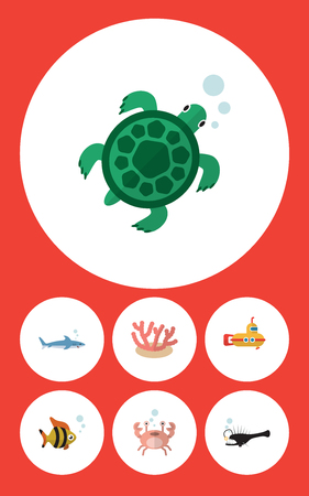 Flat Icon Nature Set Of Cancer, Periscope, Tortoise And Other Vector Objects. Also Includes Coral, Fish, Seafood Elements. Illustration