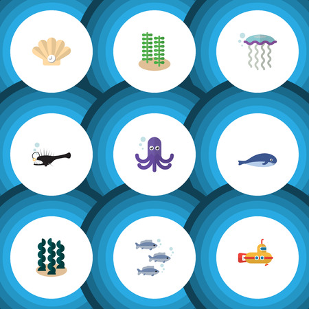 Flat Icon Sea Set Of Periscope, Alga, Tentacle And Other Vector Objects. Also Includes Angler, Melanocetus, Whale Elements.