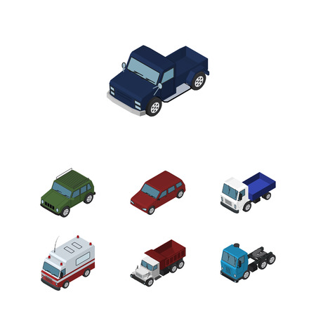car speed: Isometric Car Set Of Truck, First-Aid, Suv And Other Vector Objects. Also Includes Ambulance, Motor, Freight Elements.