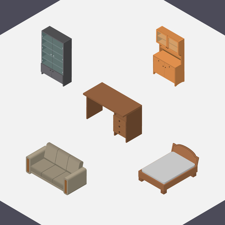 Isometric Design Set Of Cupboard, Couch, Table And Other Vector Objects. Also Includes Sofa, Sideboard, Bed Elements.