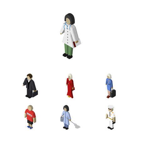 Isometric People Set Of Hostess, Housemaid, Female And Other Vector Objects. Also Includes Female, Mariner, Stewardess Elements.