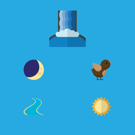 Flat Icon Nature Set Of Solar, Bird, Half Moon And Other Vector Objects. Also Includes Estuary, Wing, Bird Elements. Illustration