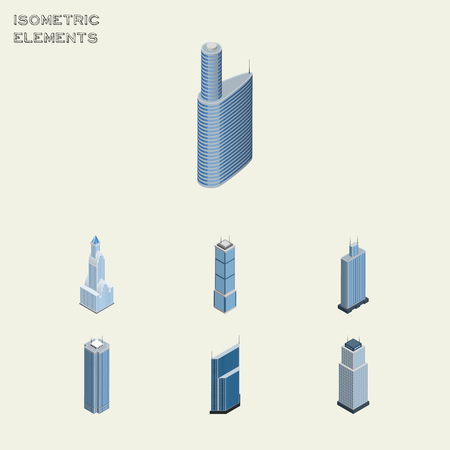 miniature: Isometric Building Set Of Building, Business Center, Apartment And Other Vector Objects. Also Includes Cityscape, Skyscraper, Business Elements.