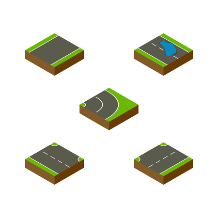 the roadside: Isometric Way Set Of Unilateral, Upwards, Plash And Other Vector Objects. Also Includes Upward, Road, Asphalt Elements.