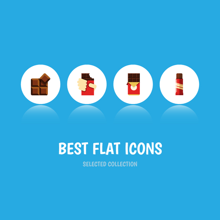 piece: Flat Icon Sweet Set Of Sweet, Cocoa, Shaped Box And Other Vector Objects. Also Includes Box, Delicious, Chocolate Elements. Illustration