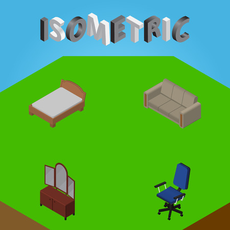 Isometric Furniture Set Of Bedstead, Drawer, Couch And Other Vector Objects. Also Includes Cupboard, Sideboard, Bed Elements.