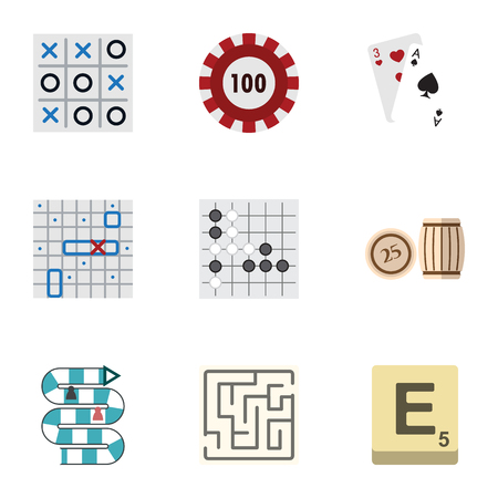 Flat Icon Play Set Of Sea Fight, X&O, Gomoku And Other Vector Objects. Also Includes Alphago, Bingo, Tic Elements.