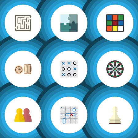 Flat Icon Games Set Of Sea Fight, Cube, X&O And Other Vector Objects. Also Includes Bingo, Tic, Lost Elements.