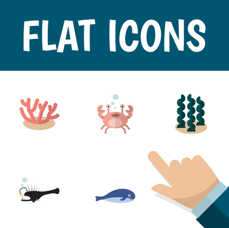 Flat Icon Sea Set Of Fish, Cachalot, Alga And Other Vector Objects. Also Includes Algae, Fish, Melanocetus Elements.