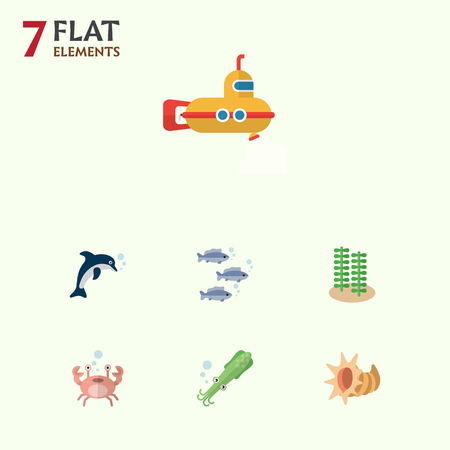 Flat Icon Marine Set Of Cancer, Playful Fish, Octopus And Other Vector Objects. Also Includes Lobster, Fish, Spirulina Elements.