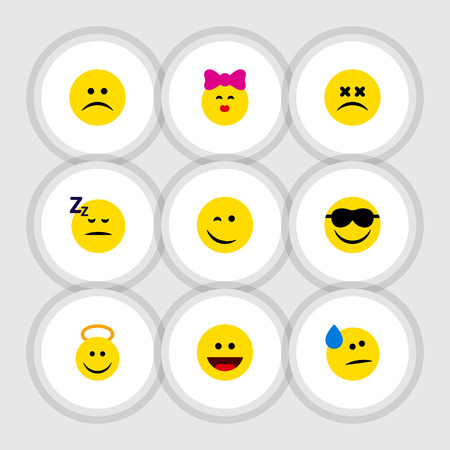 Flat Icon Emoji Set Of Tears, Caress, Sad And Other Vector Objects. Also Includes Asleep, Winking, Face Elements.