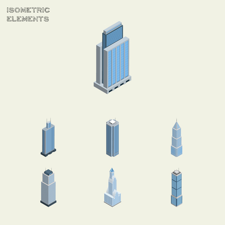miniature: Isometric Skyscraper Set Of Exterior, Tower, Business Center And Other Vector Objects. Also Includes Exterior, Skyscraper, Urban Elements.
