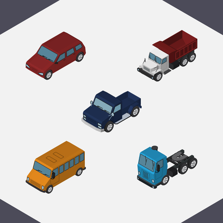 car speed: Isometric Automobile Set Of Truck, Suv, Autobus And Other Vector Objects. Also Includes Freight, Car, Pickup Elements.