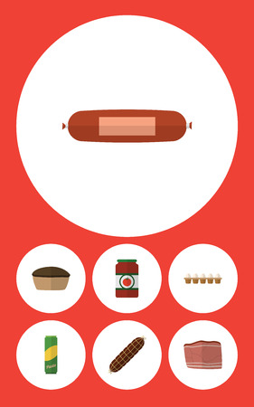 Flat Icon Meal Set Of Beef, Smoked Sausage, Eggshell Box And Other Vector Objects. Also Includes Beef, Eggshell, Smoked Elements. Ilustração
