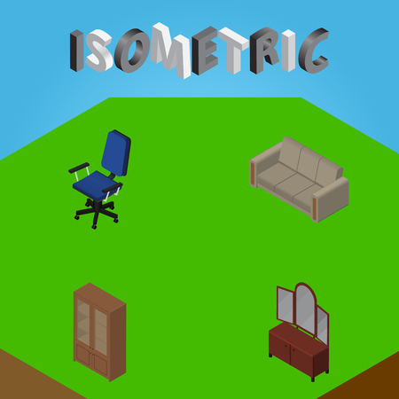 Isometric Furnishing Set Of Office, Couch, Cabinet And Other Vector Objects. Also Includes Armchair, Cupboard, Couch Elements.