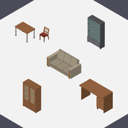 Isometric Furniture Set Of Sideboard, Chair, Cabinet And Other Vector Objects. Also Includes Settee, Cabinet, Desk Elements. Illustration