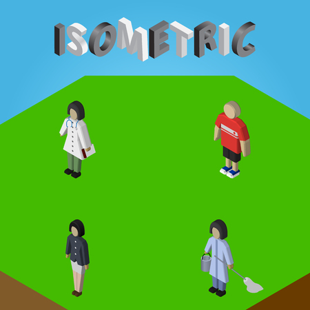 Isometric Person Set Of Guy, Girl, Housemaid And Other Vector Objects. Also Includes Nurse, Doctor, Woman Elements.
