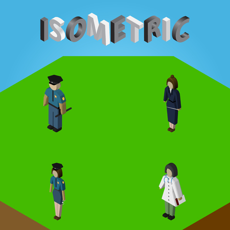 femme policier: Isometric Person Set Of Businesswoman, Officer, Policewoman And Other Vector Objects. Also Includes Doctor, Officer, Lady Elements.