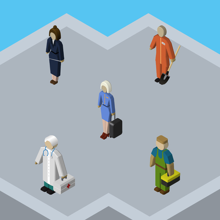 Isometric Person Set Of Businesswoman, Cleaner, Medic And Other Vector Objects. Also Includes Worker, Plumber, Laborer Elements. Illustration