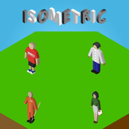 Isometric People Set Of Male, Pedagogue, Cleaner And Other Vector Objects. Also Includes Pedagogue, Cleaner, Man Elements.