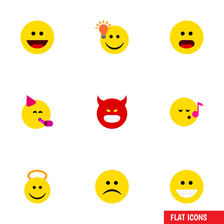 Flat Icon Emoji Set Of Angel, Party Time Emoticon, Sad And Other Vector Objects. Also Includes Sing, Idea, Emoji Elements.