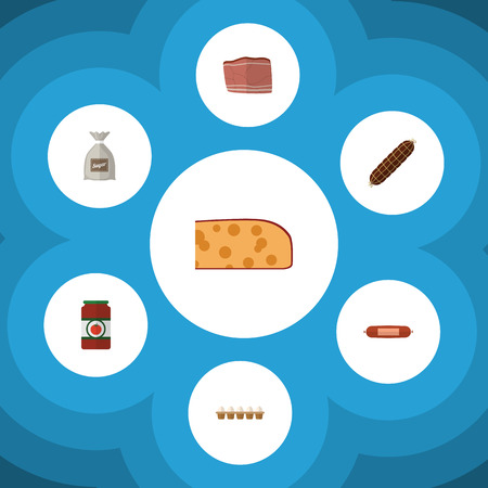 chop: Flat Icon Food Set Of Beef, Ketchup, Sack And Other Vector Objects. Also Includes Breakfast, Sauce, Food Elements.