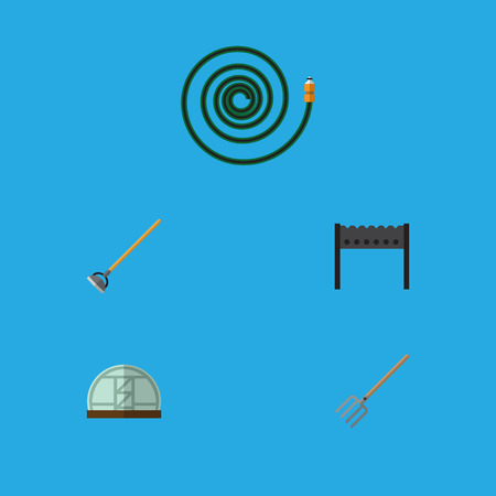 Flat Icon Garden Set Of Hay Fork, Barbecue, Hothouse And Other Vector Objects. Also Includes Bbq, Brazier, Greenhouse Elements.