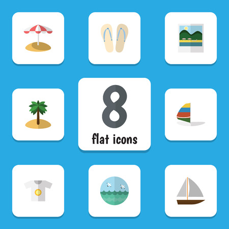 Flat Icon Season Set Of Clothes, Yacht, Surfing And Other Vector Objects. Also Includes Bird, Yacht, Surfing Elements. Illustration