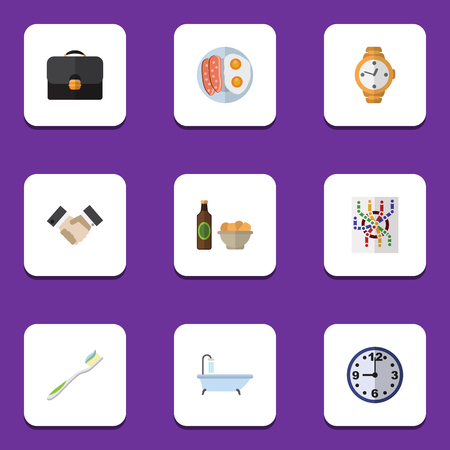 fried: Flat Icon Oneday Set Of Timer, Router, Partnership And Other Vector Objects. Also Includes Bath, Briefcase, Greeting Elements.