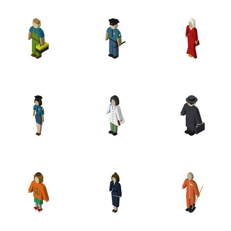 mujer policia: Isometric Person Set Of Plumber, Policewoman, Businesswoman And Other Vector Objects. Also Includes Policewoman, Doctor, Officer Elements. Vectores
