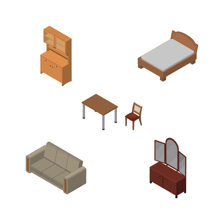 bedstead: Isometric Furnishing Set Of Cupboard, Drawer, Couch And Other Vector Objects.