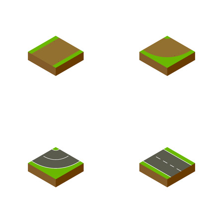 the roadside: Isometric Road Set Of Single-Lane, Footpath, Road And Other Vector Objects. Also Includes Turn, Highway, Bitumen Elements.