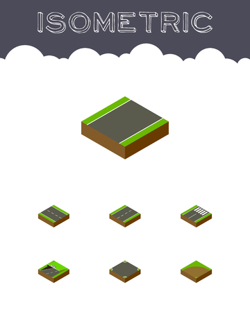 unilateral: Isometric Way Set Of Unilateral, Driveway, Footer And Other Vector Objects. Also Includes Footer, Intersection, Lane Elements.