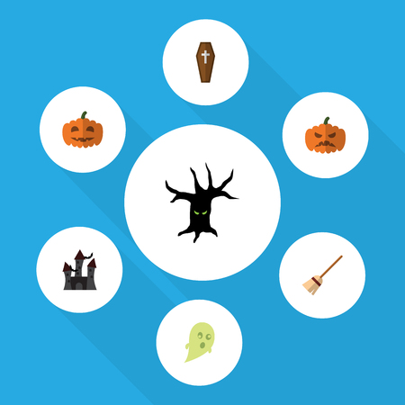 Flat Icon Halloween Set Of Broom, Phantom, Fortress And Other Vector Objects. Also Includes Phantom, Gourd, Terrible Elements. Illustration