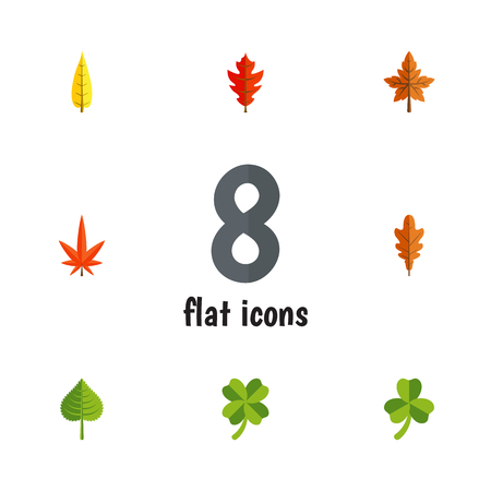 aspen leaf: Flat Icon Leaf Set Of Alder, Linden, Hickory And Other Vector Objects. Also Includes Oaken, Hickory, Leafage Elements.