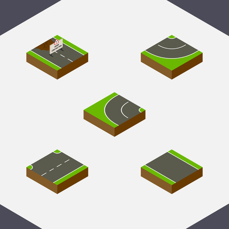 unilateral: Isometric Way Set Of Road, Without Strip, Upwards And Other Vector Objects. Also Includes Up, Strip, Under Elements.