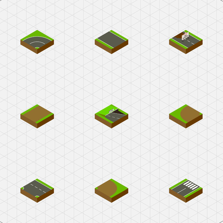 unilateral: Isometric Way Set Of Bitumen, Footpath, Footer And Other Vector Objects. Also Includes Turning, Pedestrian, Repairs Elements.