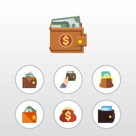 billfold: Flat Icon Purse Set Of Billfold, Pouch, Wallet And Other Vector Objects. Also Includes Billfold, Cash, Wallet Elements. Illustration