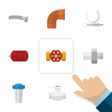 Flat Icon Plumbing Set Of Connector, Water Filter, Corrugated Pipe And Other Vector Objects. Also Includes Plumbing, Connector, Water Elements.