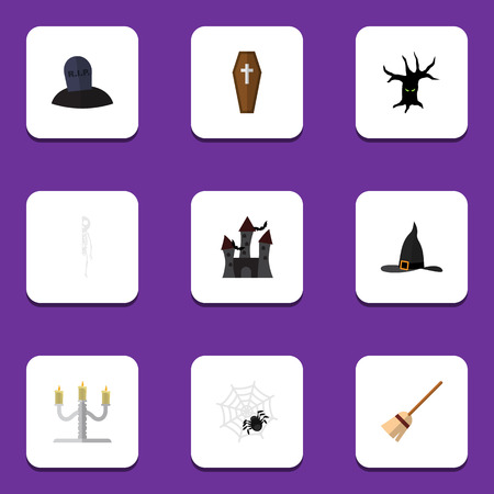 burial: Flat Icon Festival Set Of Witch Cap, Casket, Candlestick Vector Objects. Also Includes Grave, Bones, Candle Elements.