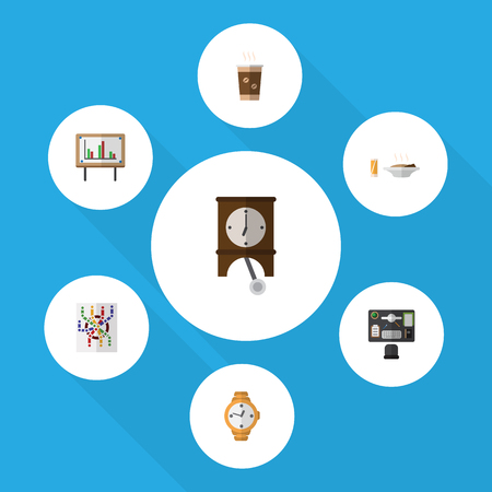 Flat Icon Oneday Set Of Cappuccino, Router, Bureau And Other Vector Objects. Also Includes Lunch, Office, Pendulum Elements.