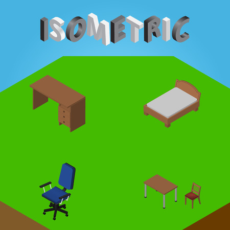 Isometric Furniture Set Of Office, Table, Bedstead And Other Vector Objects. Also Includes Armchair, Office, Furniture Elements. Illustration